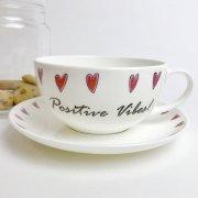 'Positive Vibes!' Bone China Teacup & Saucer