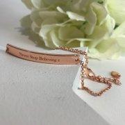 'Never Stop Believing' Rose Gold Bar Bracelet